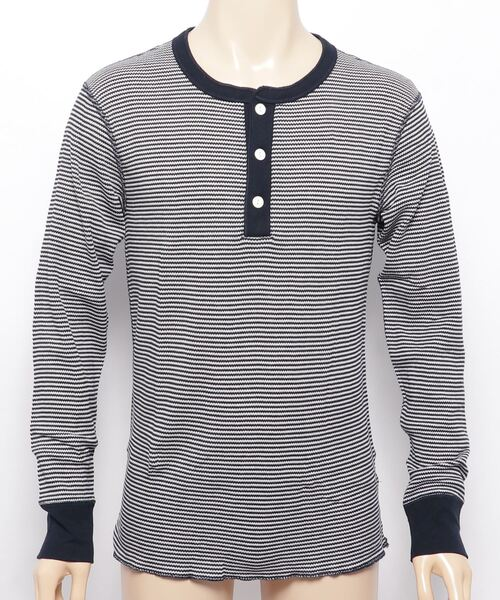 【 HealthKnit / ヘルスニット 】ベーシックワッフルヘンリーネック長袖Tシャツ 601L SIP