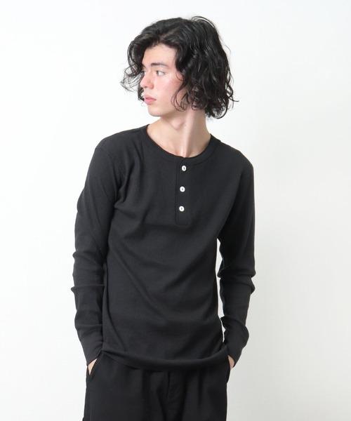 【 HealthKnit / ヘルスニット 】# ベーシックワッフルヘンリーネック長袖Tシャツ 601L SIP