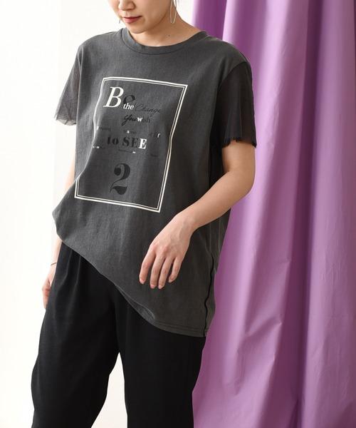 チュールスリーブプリントTシャツ
