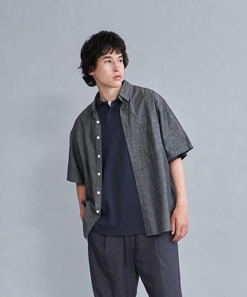 <Steven Alan> INDG/CHAMBRAY REVERSE SEAM SHORT SLEEVE SHIRT-LOOSE/シャツ