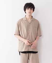 吸水速乾 UVカット 形態安定 2WAYストレッチ オープンカラーシャツベージュ