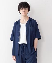 吸水速乾 UVカット 形態安定 2WAYストレッチ オープンカラーシャツネイビー