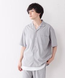 吸水速乾 UVカット 形態安定 2WAYストレッチ オープンカラーシャツグレー