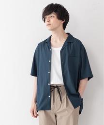 吸水速乾 UVカット 形態安定 2WAYストレッチ オープンカラーシャツグリーン
