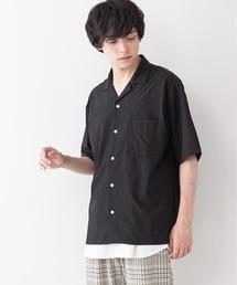 吸水速乾 UVカット 形態安定 2WAYストレッチ オープンカラーシャツブラック