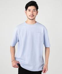 THE CASUAL(カジュアル)のUSAコットンポケット付きベビーウエイトドロップショルダーワイド半袖カットソー(Tシャツ/カットソー)