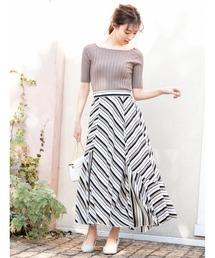 fifth(フィフス)の【星玲奈プロデュース】ストライプイレギュラーヘムスカート(スカート)