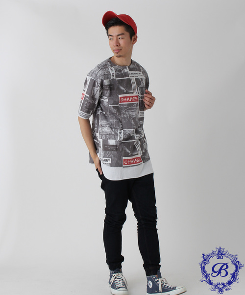 【BURNER SELECT】モノクロ転写総柄プルオーバーシャツ