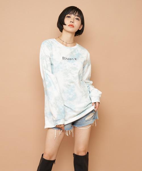 BONHEURロゴプリントロングスリーブTシャツ