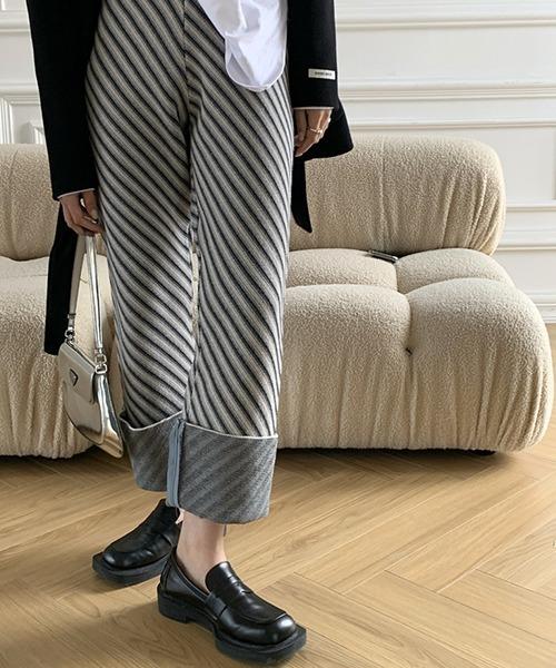 【chuclla】【2021/SS】Striped pattern knit pants sb-4 chw1457