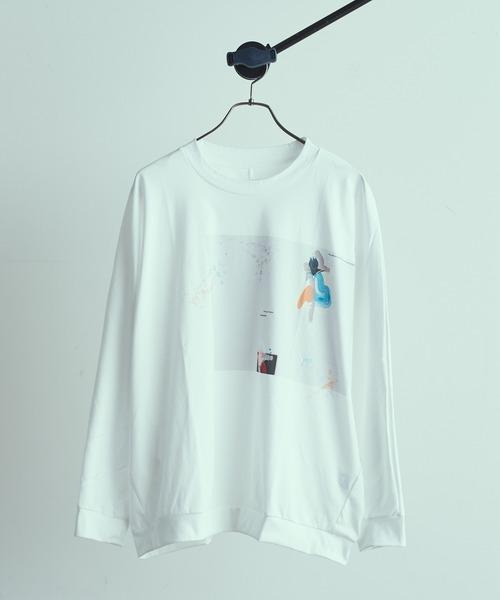 Lui's(ルイス)の「ドルマンnioプリントL/S tee(Tシャツ/カットソー)」 オフホワイト