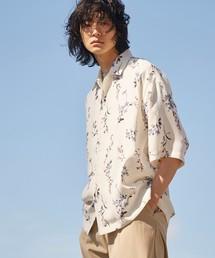 tk.TAKEO KIKUCHI(ティーケータケオキクチ)のフラワープリントオーバーシャツ(シャツ/ブラウス)