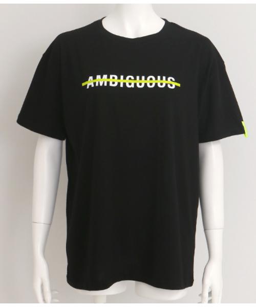 ネオンテープ付プリントTシャツ