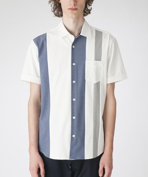 BLACK LABEL CRESTBRIDGE(ブラックレーベル・クレストブリッジ)の「パネルストライプハーフスリーブシャツ(シャツ/ブラウス)」 オフホワイト