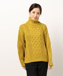 【 Allumer 】Cable Turtleneck  8148343・・イエロー