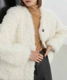 【Fano Studios】【2021AW】Collarless shaggy fur blouson FD20W241ホワイト