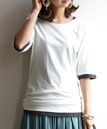 and it_(アンドイット)のフェイクレイヤードくしゅくしゅシャーリング5分袖カットソー(Tシャツ/カットソー)