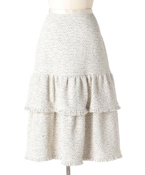 Drawer ツイードキリカエフリンジスカート