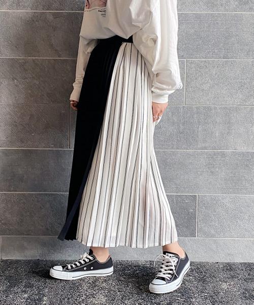 ストライププリーツラップスカート