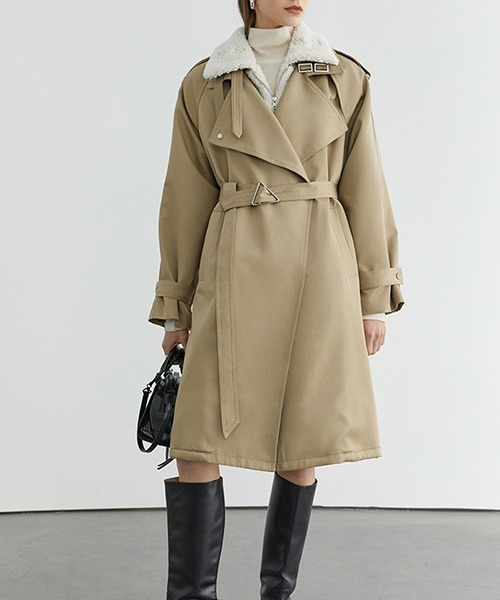 【Fano Studios】【2021AW】Mouton layered belted trench coat FD20W245