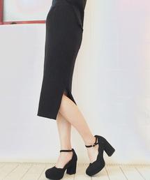oneway glamorous(ワンウェイグラマラス)のサイドスリットテレコスカート(スカート)