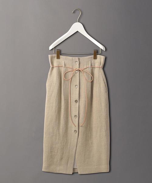 <6(ROKU)>LINEN BUTTON SKIRT/スカート