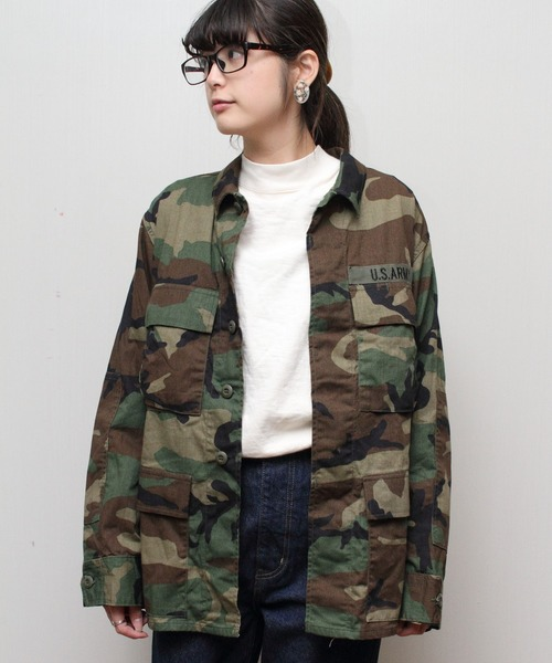 US CAMO EMBROIDERY JKT / ミリタリージャケット シャツ カモ柄 刺繍