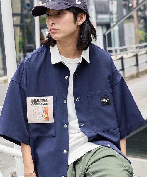 Mark Gonzales/マークゴンザレス MONO-MART別注 オーバーサイズ クレリック ピスネーム半袖ワークシャツ
