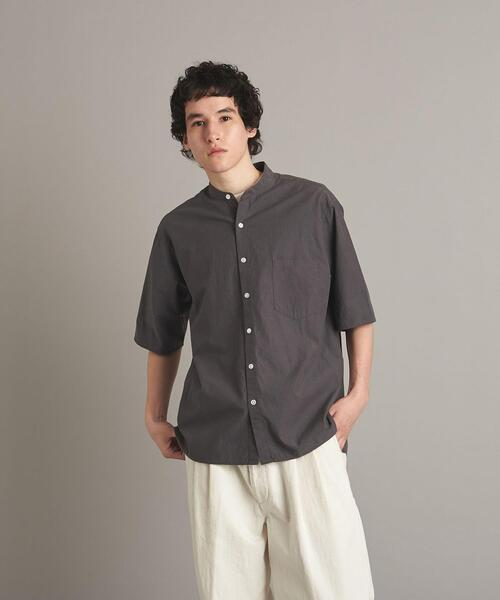 <Steven Alan> BIO/CLOTH BAND COLLAR SHORT SLEEVE SHIRT-BOLD/シャツ