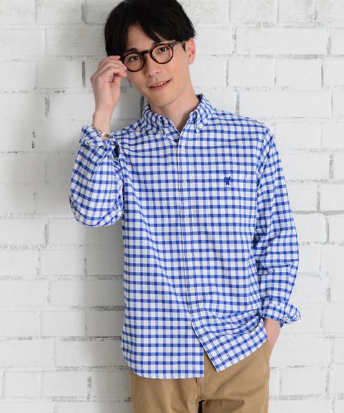 ドライファブリックチェックオックスフォードボタンダウンシャツ