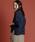 Munich(ミューニック)の「【2way】リネン混ジャージニット×コットンシフォン異素材切替えトップス/カーディガン(カーディガン)」|ネイビー