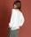 Munich(ミューニック)の「【2way】リネン混ジャージニット×コットンシフォン異素材切替えトップス/カーディガン(カーディガン)」|ホワイト