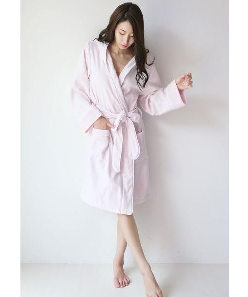 【 西川産業コラボ 綿100% 日本製 】 フード付きバスローブ   FLORINA BEAUTE