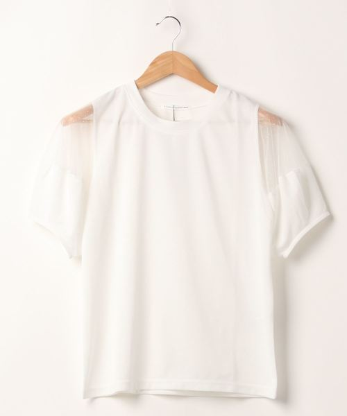 E hyphen world gallery(イーハイフンワールドギャラリー)の「ドットチュール切替プルオーバー*(Tシャツ/カットソー)」 オフホワイト