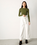 MOUSSY | HL HIGH WAIST BELTED WIDE(デニムパンツ)