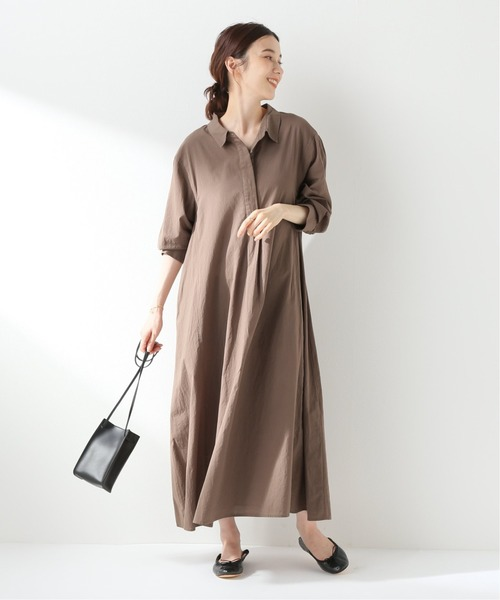 SLOBE IENA(スローブイエナ)の「ロングシャツドレス【手洗い可能】◆(シャツワンピース)」|ブラウン