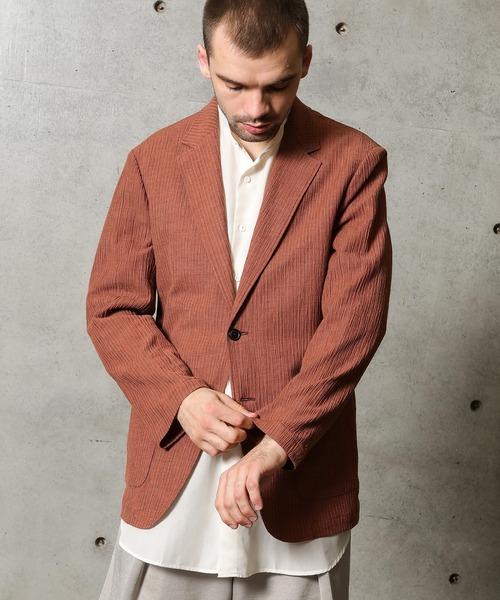麻混カールマイヤー編みストライプジャケット