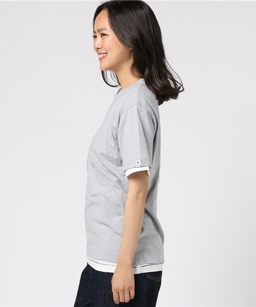 WEST SHORE リアルレイヤード2in1Tee/無地 白 グレー Tシャツ