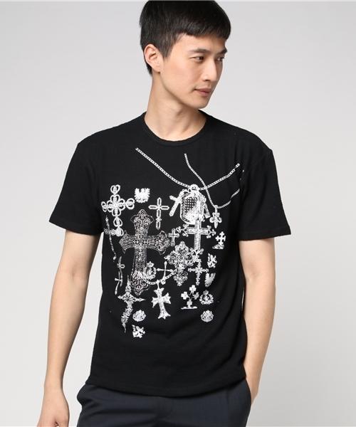 【C.D.S Black Sense】クロスラインストーンTシャツ