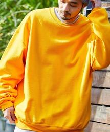 ギルダン USAオーバーサイズ ロングスリーブプルオーバークルースウェット(裏起毛)ゴールド