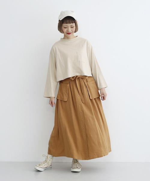 ショート丈長袖コットンTシャツ1860