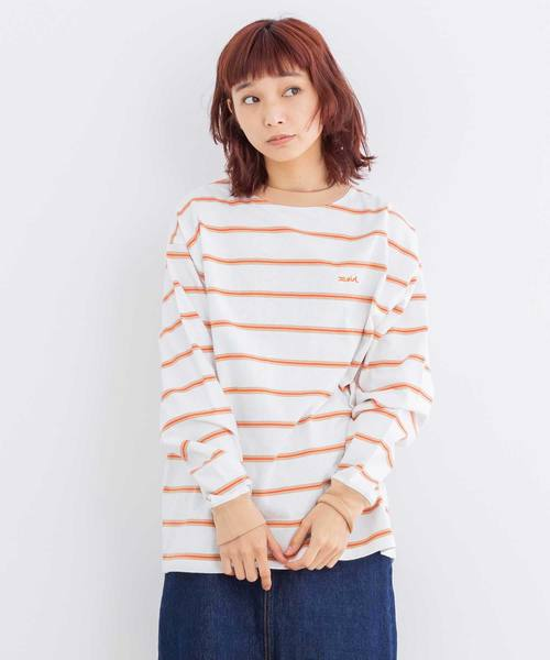 X-girl(エックスガール)の「STRIPED L/S TEE(Tシャツ/カットソー)」|ホワイト