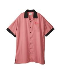 ENDLESS NIGHT刺繍 オーバーサイズボーリングシャツピンク