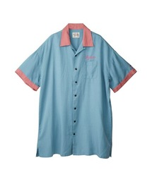 ENDLESS NIGHT刺繍 オーバーサイズボーリングシャツブルー