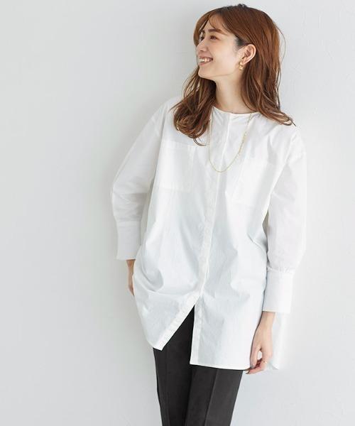 Pierrot(ピエロ)の「ノーカラーオーバーサイズチュニックシャツ(シャツ/ブラウス)」|オフホワイト
