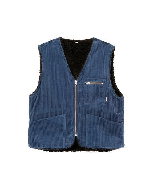 STUSSY(ステューシー)の「Wide Wale Reversible Vest(ブルゾン)」|ネイビー