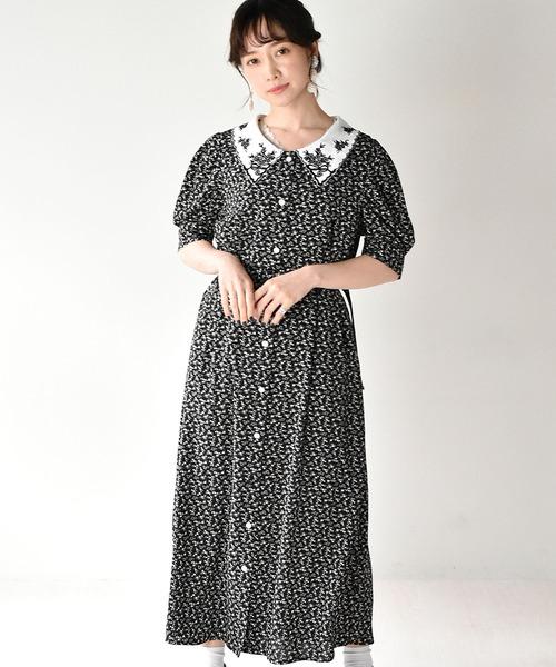 刺繍襟ヴィンテージライクワンピース