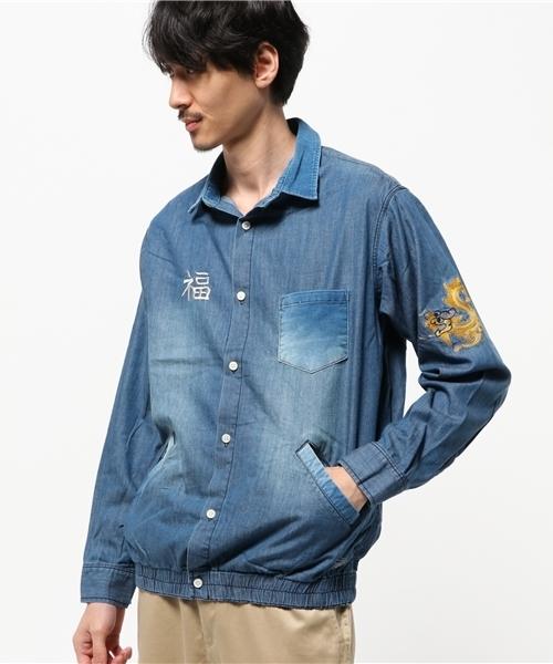 【即納!最大半額!】 Weal Gum Gum Shirts スカジャン風 刺繍入り シャンブレーシャツ(シャツ/ブラウス) スカジャン風 Shirts ALDIES(アールディーズ)のファッション通販, 出石郡:6d3358bf --- blog.buypower.ng