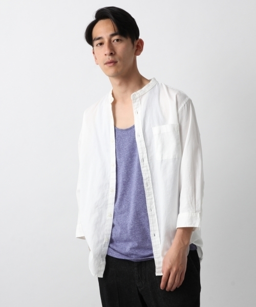 リネン混バーズアイシャツ7分袖/794199
