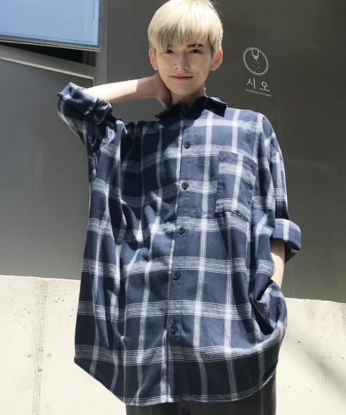 【BASQUE -enthusiastic design-】ビッグシルエットチェックシャツ